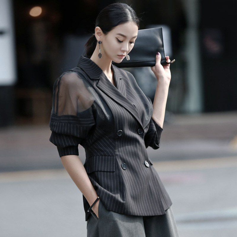 Alta calidad 2019 mujeres primavera moda Otoño doble botones de pecho linterna de manga completa malla empalmado talla grande rayado outwear-in chaquetas básicas from Ropa de mujer    3