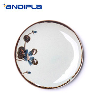 Japanese Style Ceramic Plate Hand Painted Floral Pattern Home Creative Tableware Spaghetti Big Dishes Sushi Saucer for Dinner