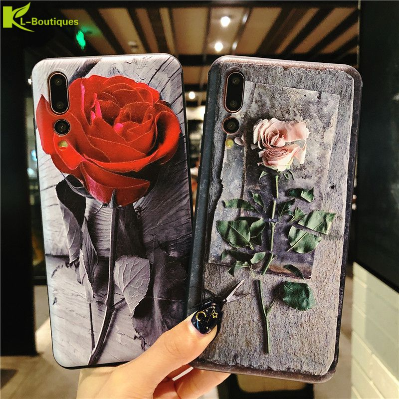 Huawei P20 Lite Case on for Coque Huawei P 20 lite P20 Pro Cases Retro Rose Flower 3D Relief Soft Silicone Phone Case Cover Etui visa