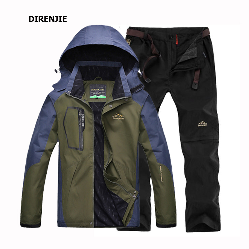 Spring Autumn Fishing Hiking Camping Trekking Sportswear suit Men's Outdoor Waterproof Windproof Jacket +Quick Dry Pants sets 2017 camel outdoor windproof waterproof couple jacket light breathable quick dry hooded skin clothing spring summer jacket