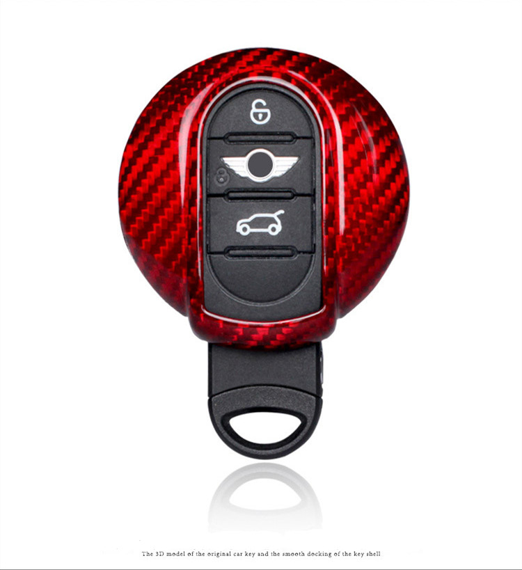 1 Set Auto fibre de carbone à distance voiture clé porte-couvercle coque de peau pour BMW Mini Cooper accessoires porte-clés chaîne