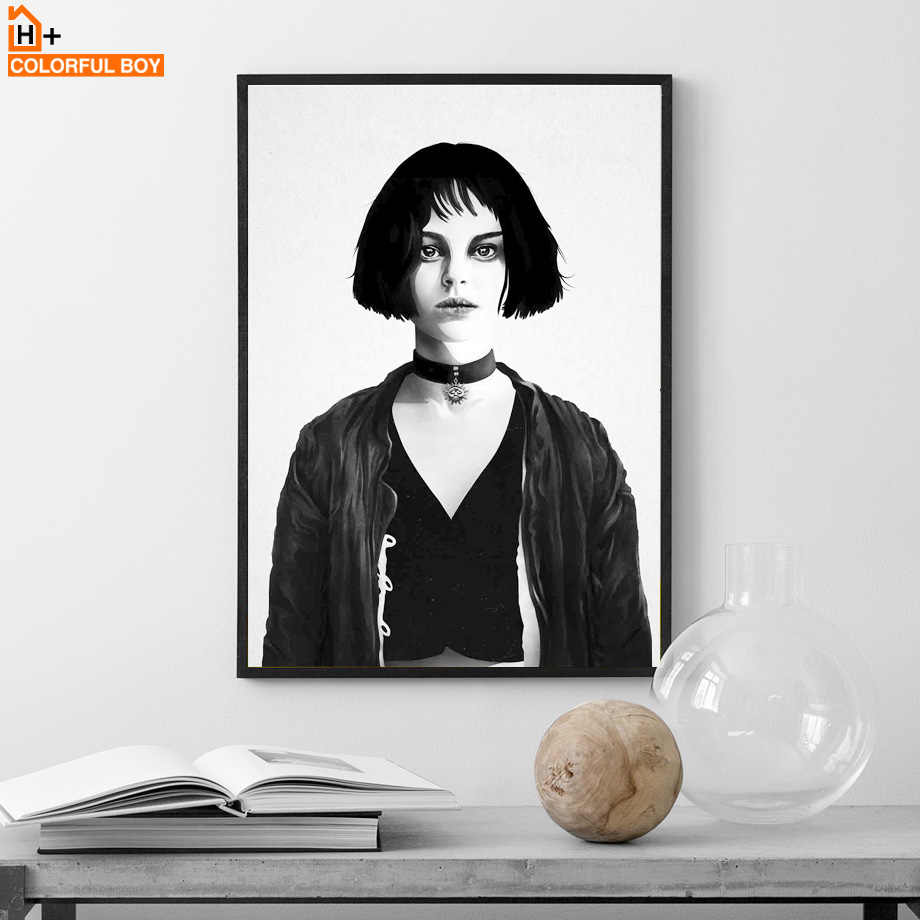 Canvas art print wall painting leon the professional black white movie posters and prints nordic wall