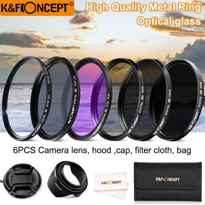 K & F CONCEPT 52/58/62/67/72/77mm UV CPL FLD ND2 ND4 ND8 6 pcs Lentille Filtres Kit avec 4 Cadeaux Pour Nikon Canon Sony Tamron et plus