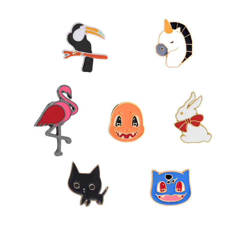 cindy  jewelry High Quality Creative Cartoon Animal Cute Cat Flamingo Rabbit Colorful Unicorn Bird Enamel Pin Brooches Lapel Collar Brooch Pins