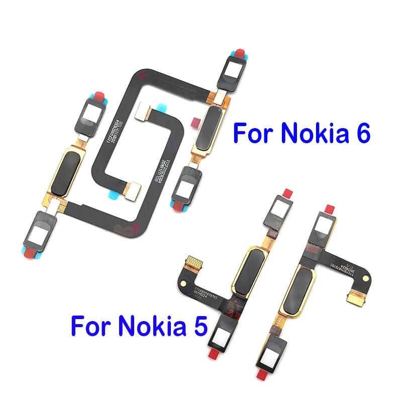 New Home Button Fingerprint Sensor Button Flex Cable Ribbon For Nokia 6 / 5 Replacement Part