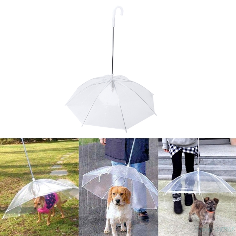 1PC Transparent PE Pet Umbrella Small Dog Rain Gear with Dog Leads