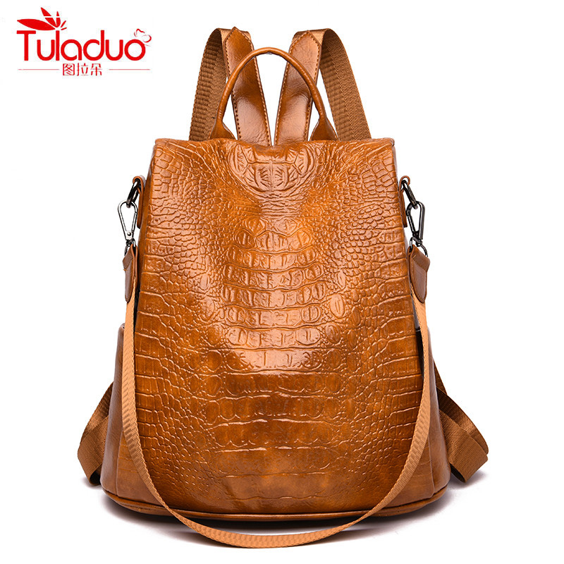 High Quality PU Leather Women Backpacks Fashion Anti Theft Travel Ladies Backpacks Luxury Alligator Solid Women Backpack 2019High Quality PU Leather Women Backpacks Fashion Anti Theft Travel Ladies Backpacks Luxury Alligator Solid Women Backpack 2019