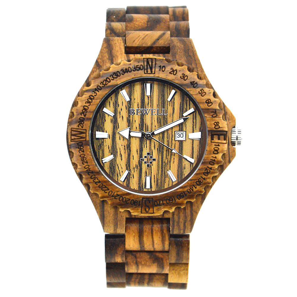 2018 New Style BEWELL Handmade Sandalwood Watch Calendar Wood Watches for Man Gift Items with Box Support Dropshipping 023A -in Quartz Watches from Watches ...