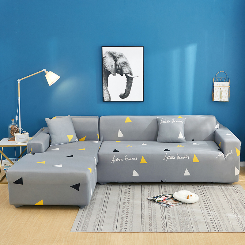 2 Pcs Elastic Couch Cover for Sectional and L Shaped Sofa Made of Spandex Material 1