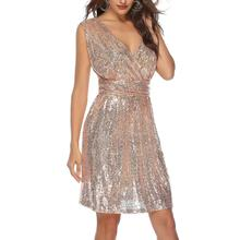 2019 Fashion Luxury Elegant Wedding Party Women Glitter Shining Sequined Gown Sexy V Neck Sleeveless Lady Casual Slim Midi Dress