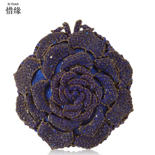 Mariée Chaud Main Or À Top Fleur deep Sacs Rose Soirée Partie Cristal Blue Or Femmes Femelle D'embrayage Marque chocolat Qualité De Sac Xiyuan rose Dames Nouvelle Arrivée nCwqFx1TUH