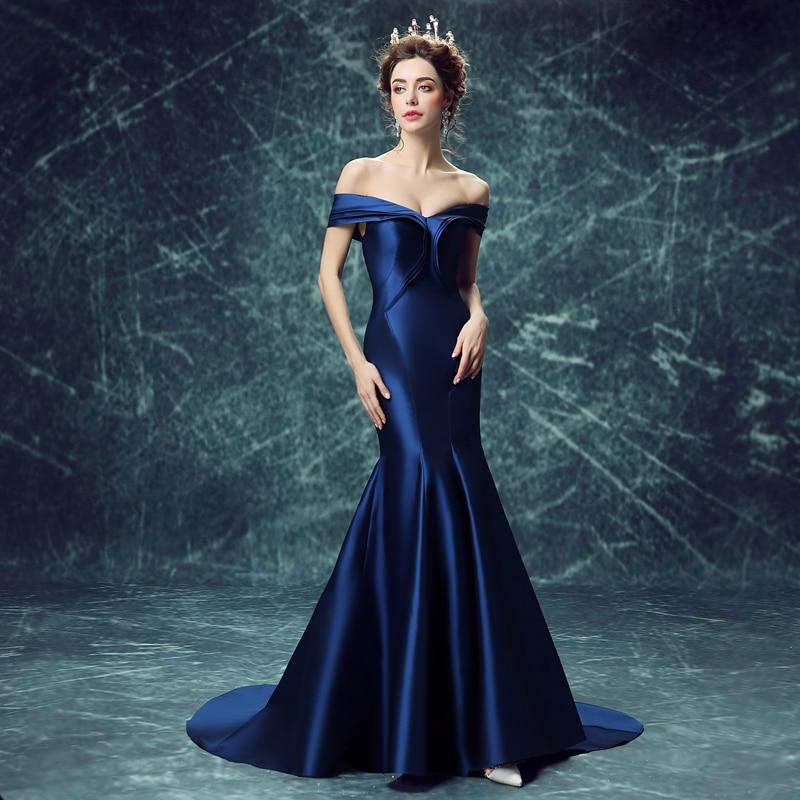 long elegant mermaid plus size prom dresses 2016 royal blue v neck
