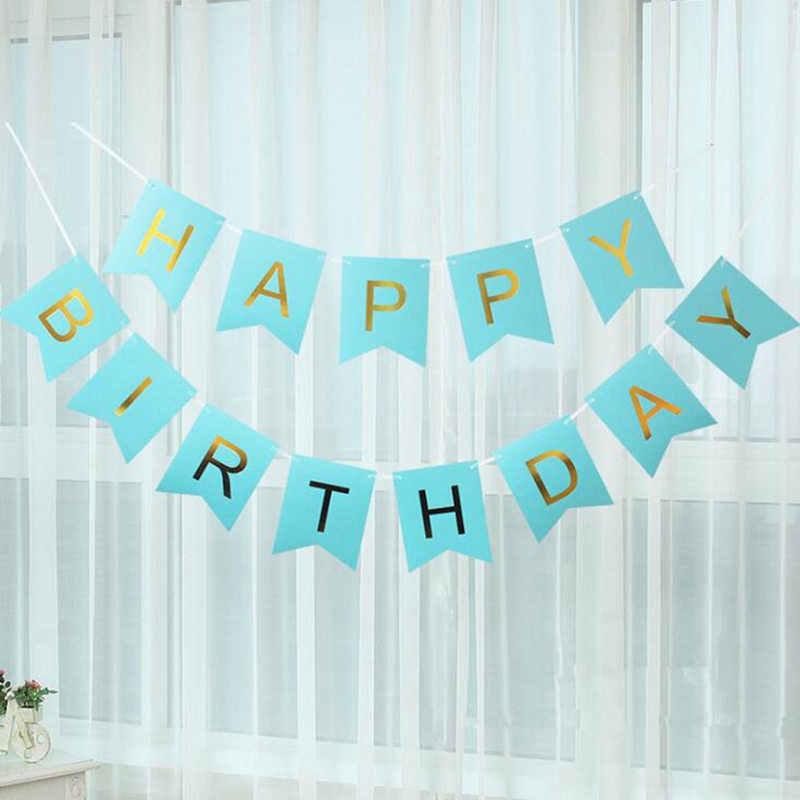 Feliz aniversário bunting banner festa de aniversário decorativo foto adereços guirlanda com uma corda vermelha para crianças decoração de festa