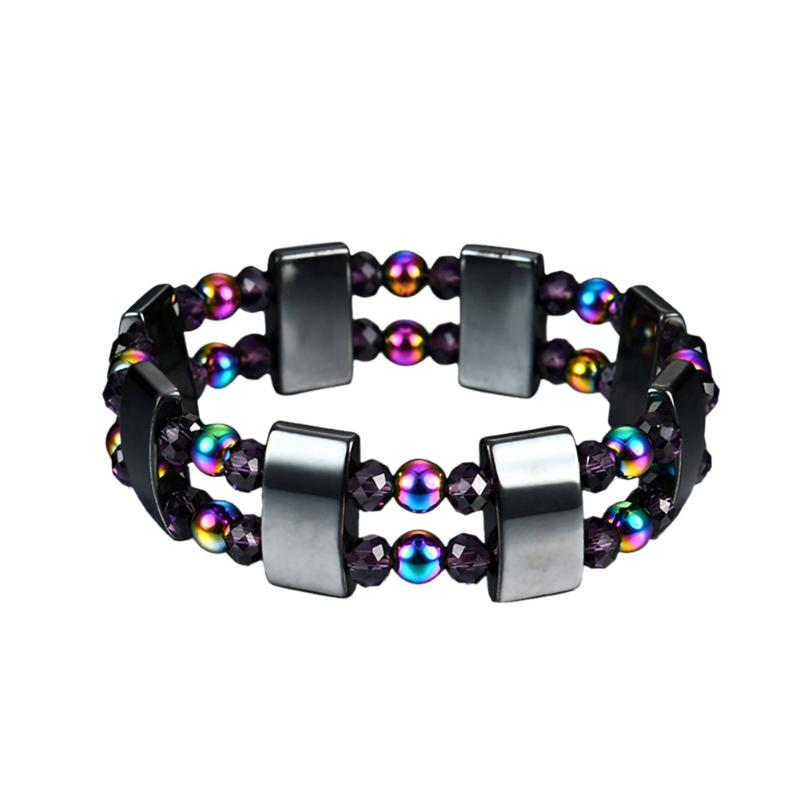 1Pc Weight Loss Round Black Stone Magnetic Therapy Bracelet Health Care Magnetic Hematite  Stretch Bracelet For Men Women 2