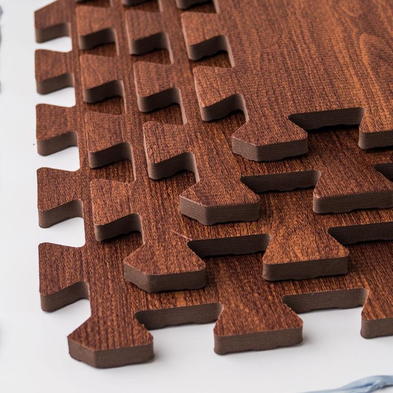 Meitoku Zachte EVA Foam puzzel kruipen mat; 10 stks hout interlock - Speelgoed voor kinderen - Foto 3