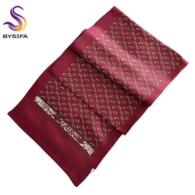 Men Long Scarves 2016 New Winter Male Mulberry Silk Scarves Printed 160*26cm Spring Autumn Paisley Satin Scarves Printed