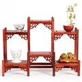A frente e para trás da prateleira Galeria Zhai sândalo vermelho jacarandá escultura ornamentos bule base de moldura de madeira sólida Mobiliário Doméstico tab