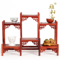 The front and back shelf Gallery Zhai red sandalwood rosewood carving ornaments teapot solid wood frame Home Furnishing base tab