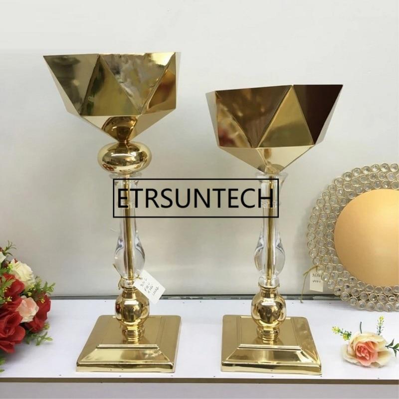 10pcs Lot Gold Vase Crystal Floor Flower Vases Geometric