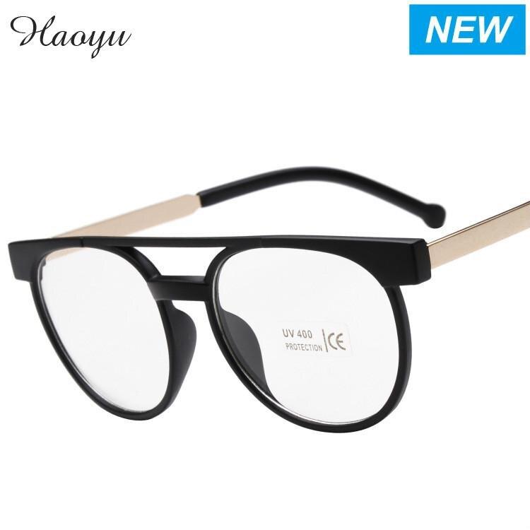 Haoyu vidrio gafas armacao oculos de Grau marca diseñador gafas Marcos  vintage ojo gafas lente transparente gafas de lectura óptica 99c7b83111
