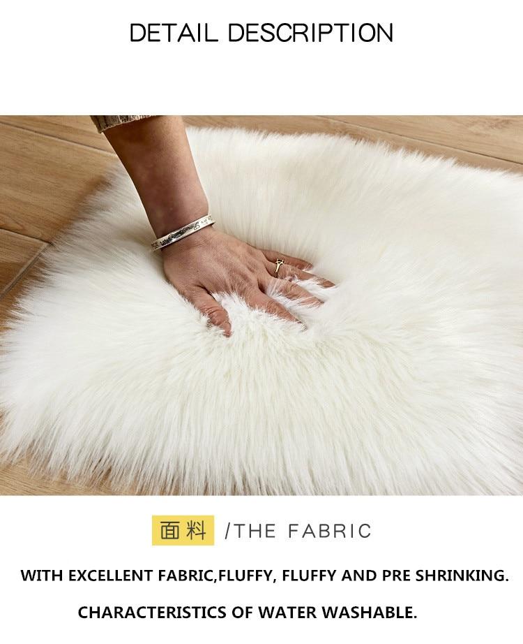 Peau de mouton artificielle tapis en fourrure douce forme de fleur couverture de chaise de chambre à coucher Long tapis moelleux laine chaude tapis poilu coussin de siège - 4
