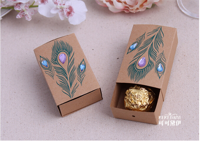 100sets/Lot+Jeweled Peacock Favor Boxes Peacock Themed Bridal Shower&Jewel Tone Wedding Favors Candy Box+FREE SHIPPING