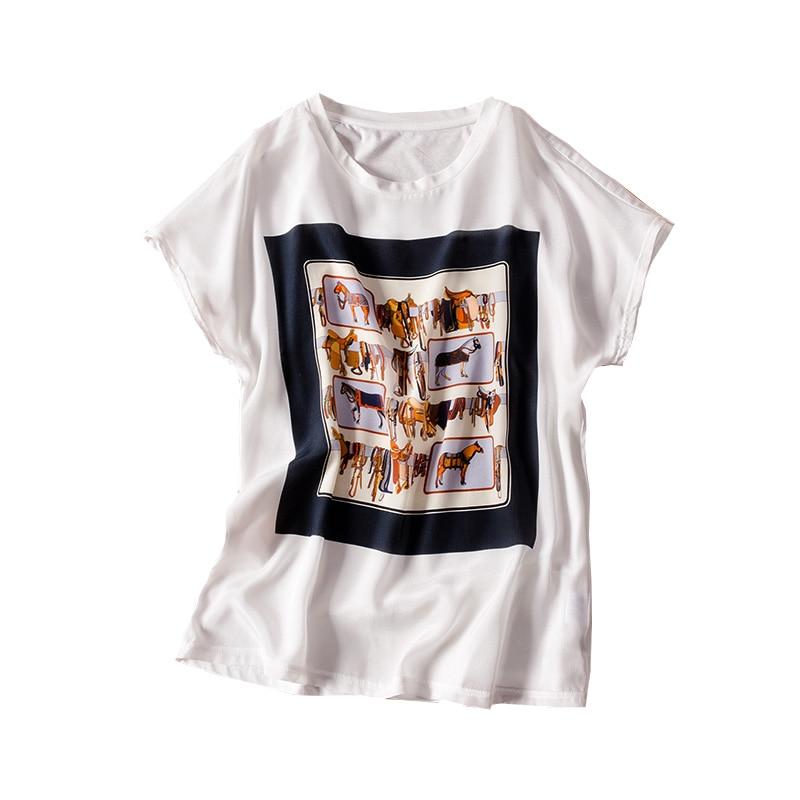 Femmes T shirt 100% réel soie avant impression chemise à manches courtes chauve-souris décontracté O cou t-shirt 2019 printemps haut d'été bleu marine blanc - 5