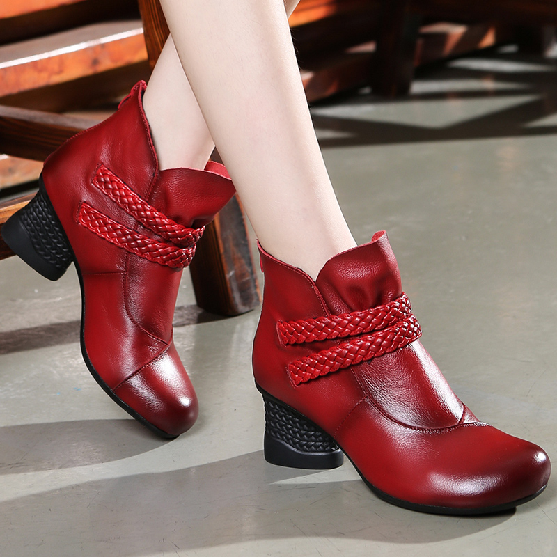 Women 6 CM High Heels Winter Shoes 2018 Leather Ankle Boots Women Handmade Retro Knight Boots Leather Shoes Handmade Black Shoes autumn winter black white high heels knight boots real leather shoes british retro metal decor pointy toe ankle boots for women