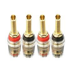 4 sztuk mosiądz kryształ oprawa do nici głośnik audio wzmacniacz 4mm wtyk bananowy złącza czarny i czerwony