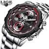 LIGE Watch Men Luxury Brand Waterproof Military Watches Mens Full Steel Casual Sport Chronograph Quartz Watch