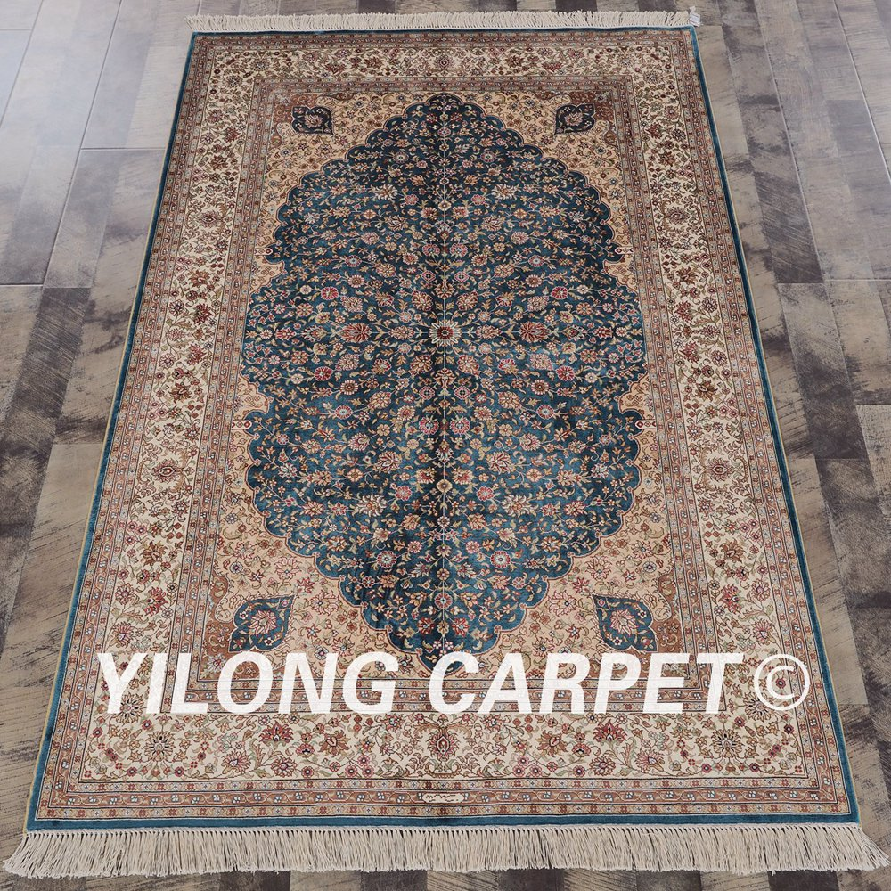 Yilong 4x6 Persian silk handmade rug medallion blue oriental silk rug on sale (ZQG049A4x6)