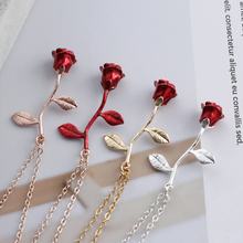 Alloy Red Rose Flower Necklace PU27