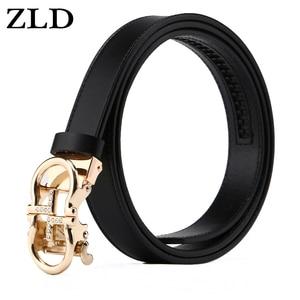 Image 1 - ZLD נשים חגורות יוקרה מפורסם מעצב מותג באיכות גבוהה פרה אמיתי רצועת עור זהב אוטומטי אבזם חגורת עבור שמלה