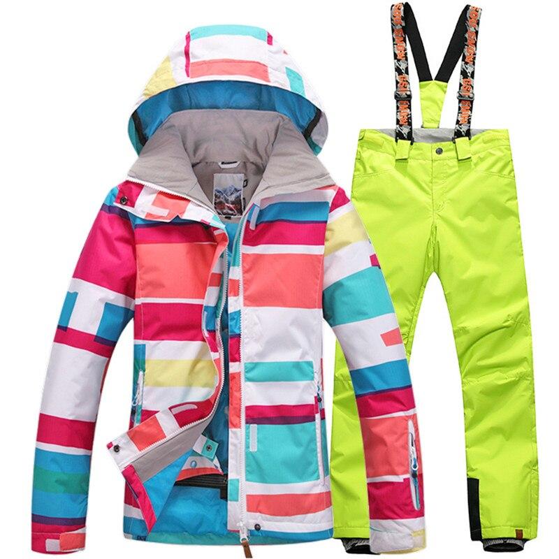 Prix pour Gsou SNOW Femmes combinaison de Ski de Snowboard Ski Veste de Ski + Pantalon Ensembles Sports de Plein Air Imperméable Respirant Femmes Chaud Vêtements