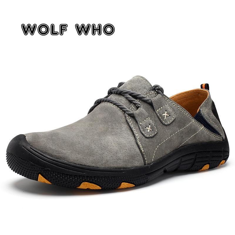 WOLF WHO 2019 nouvelle grande taille hommes en plein air chaussures antidérapantes hommes à la main Lerther chaussures décontractées homme mocassins Tenis Masculino X-034
