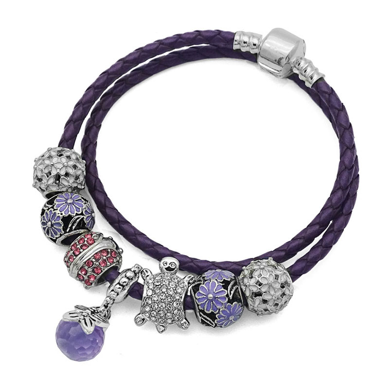 Purple Real Leather Chain Glass Crystal Beads Charm Bracelet for Women fits Pandora Fine Jewelry DIY Gifts for girls