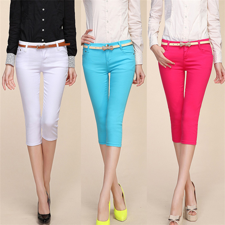 Online Shop Summer Wear Women Plus Size Capris Fashion Candy Color ...