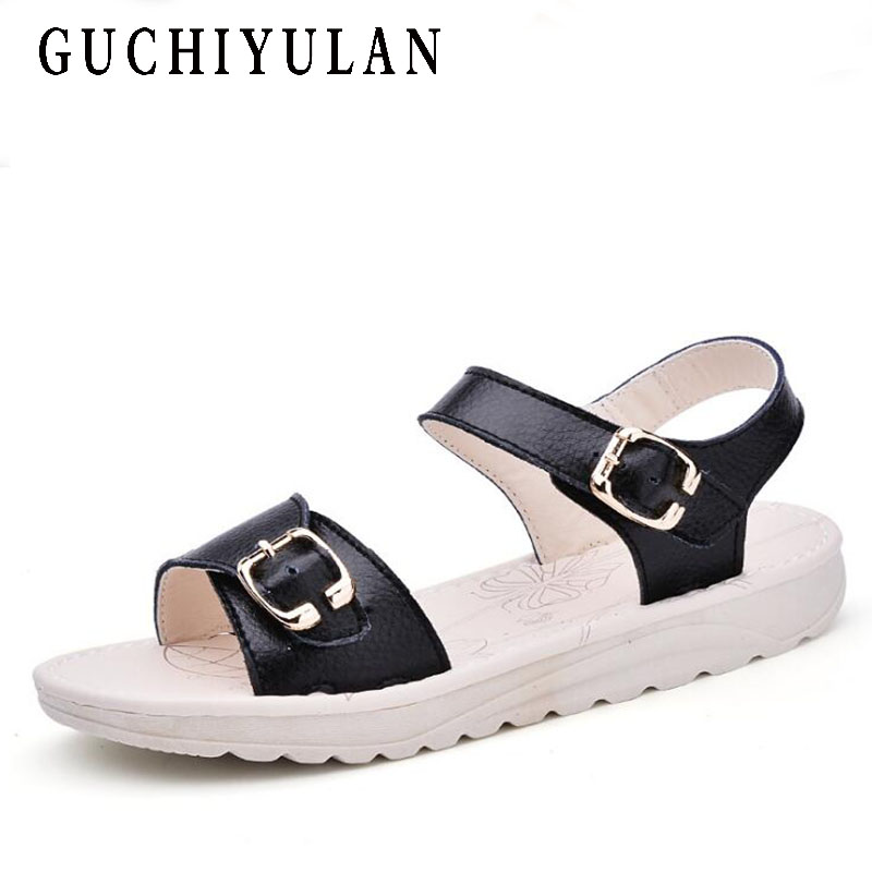 Genuine Leather Ladies Slippers Shoes Outside Fashion Word Cool Sandals Summer Casual shoes Cow Leather Woman Flat Heel Sandals