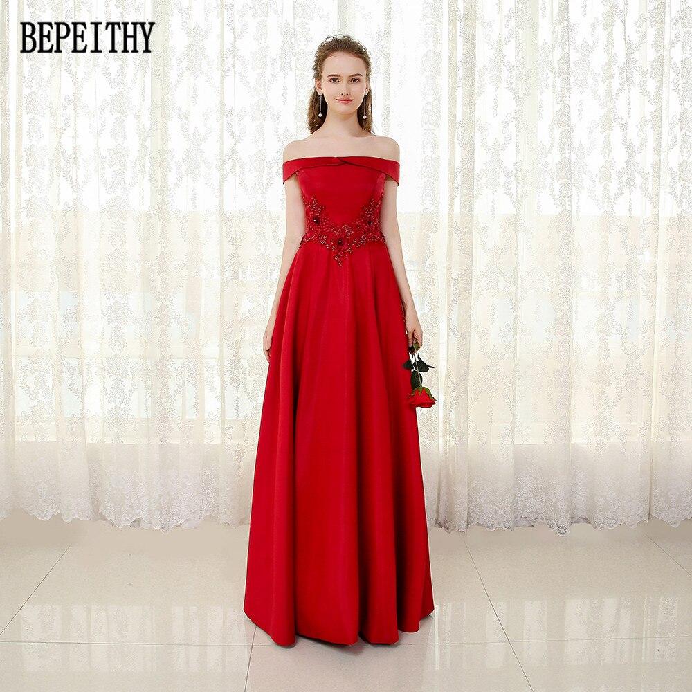 BEPEITHY Vestido De Festa nouveauté Appliques perles robe De bal Satin a-ligne rouge longues robes De soirée 2019