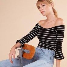 Europe and the United States fashion stripes trumpet sleeves Slim Shirt Shirt T – shirt
