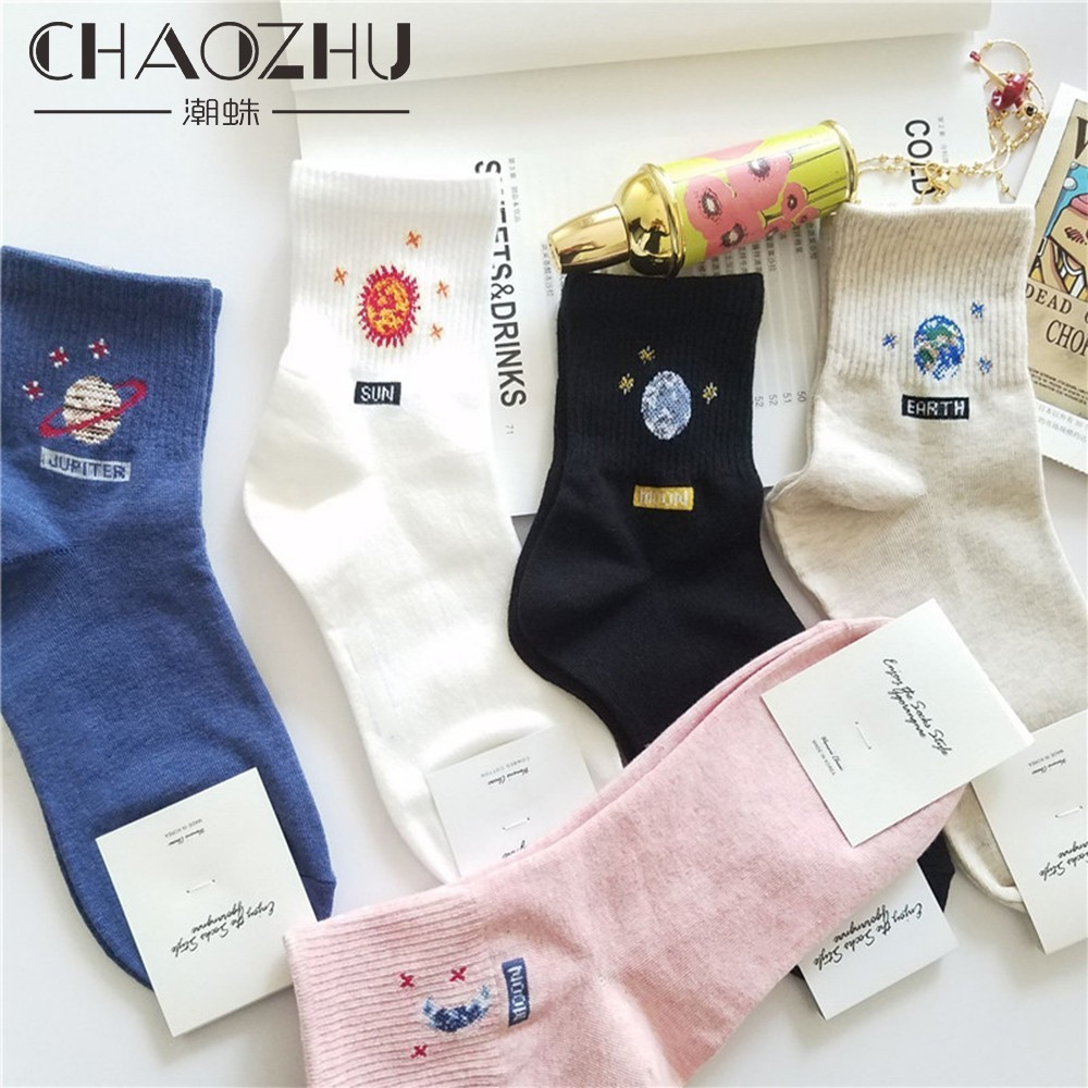 CHAOZHU New Korea 4 Season Women Cute Cotton Socks Sun Moon Universal Cartoon Icon Skarpetki Dziewczęce Socks Women Girls