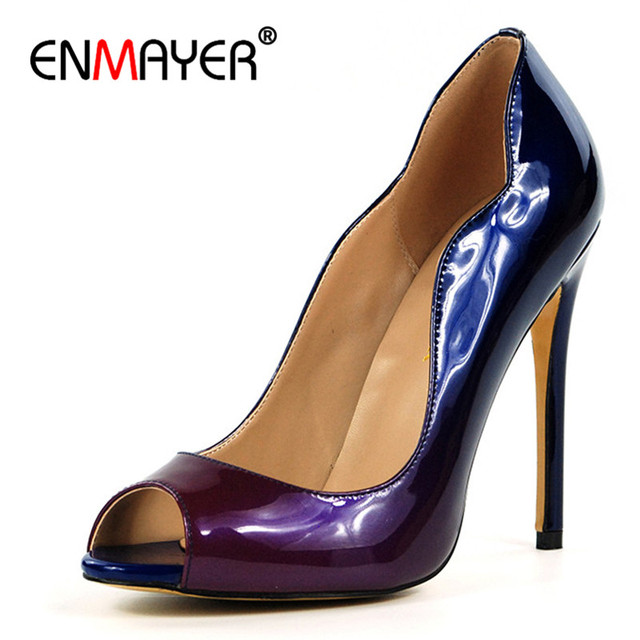 ENMAYER 100% Real Photo Shoes Woman High Heels Peep Toe Curve Leopard Summer Pumps Shallow Plus Size 35-46 Women Shoes 2018