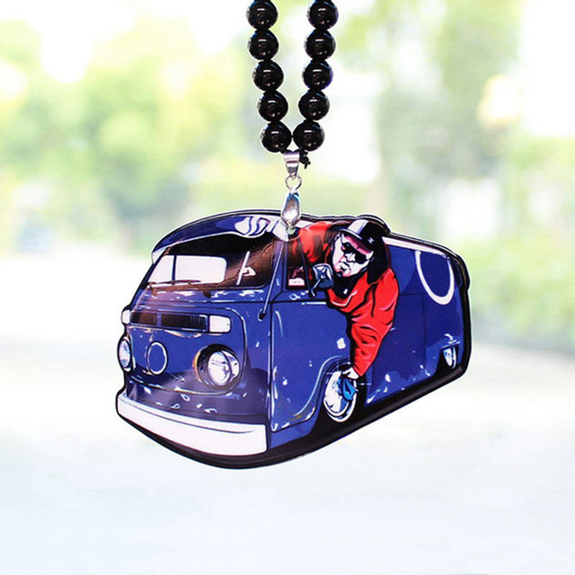 Big Man Guy Driving Purple Bus Car Model Badge Double Sides Printed Pendant Rearview Mirror JDM Ornament Accessory for VW