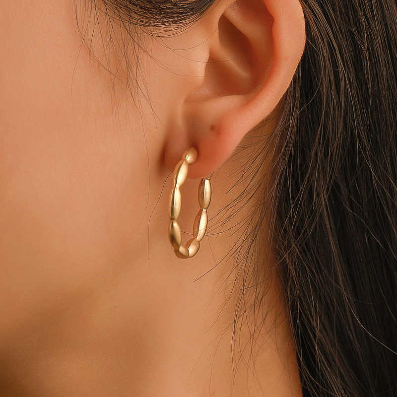 E496Golden เงินสี Hoop ต่างหูผู้หญิงรอบ Hollow แฟชั่นหูของขวัญเครื่องประดับสำหรับงานแต่งงาน Kupe