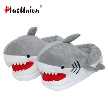 cute flock plush indoor shark slippers unisex winter animal prints slipper furry grey fluffy home fuzzy house shoes anime