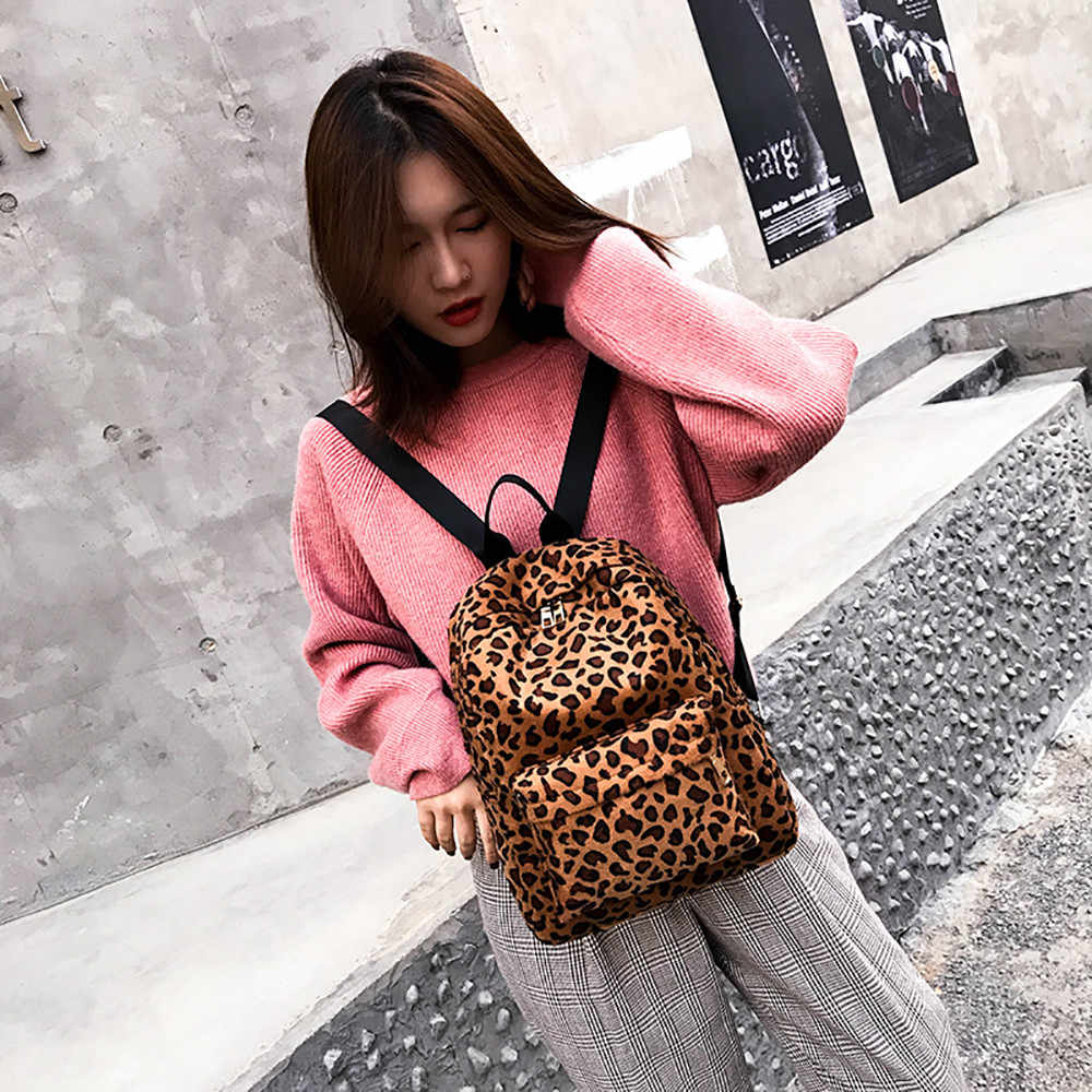 Женский велюровый японский и корейский стиль рюкзак с леопардом Леопардовый плюшевый рюкзак Персонализированная Студенческая сумка
