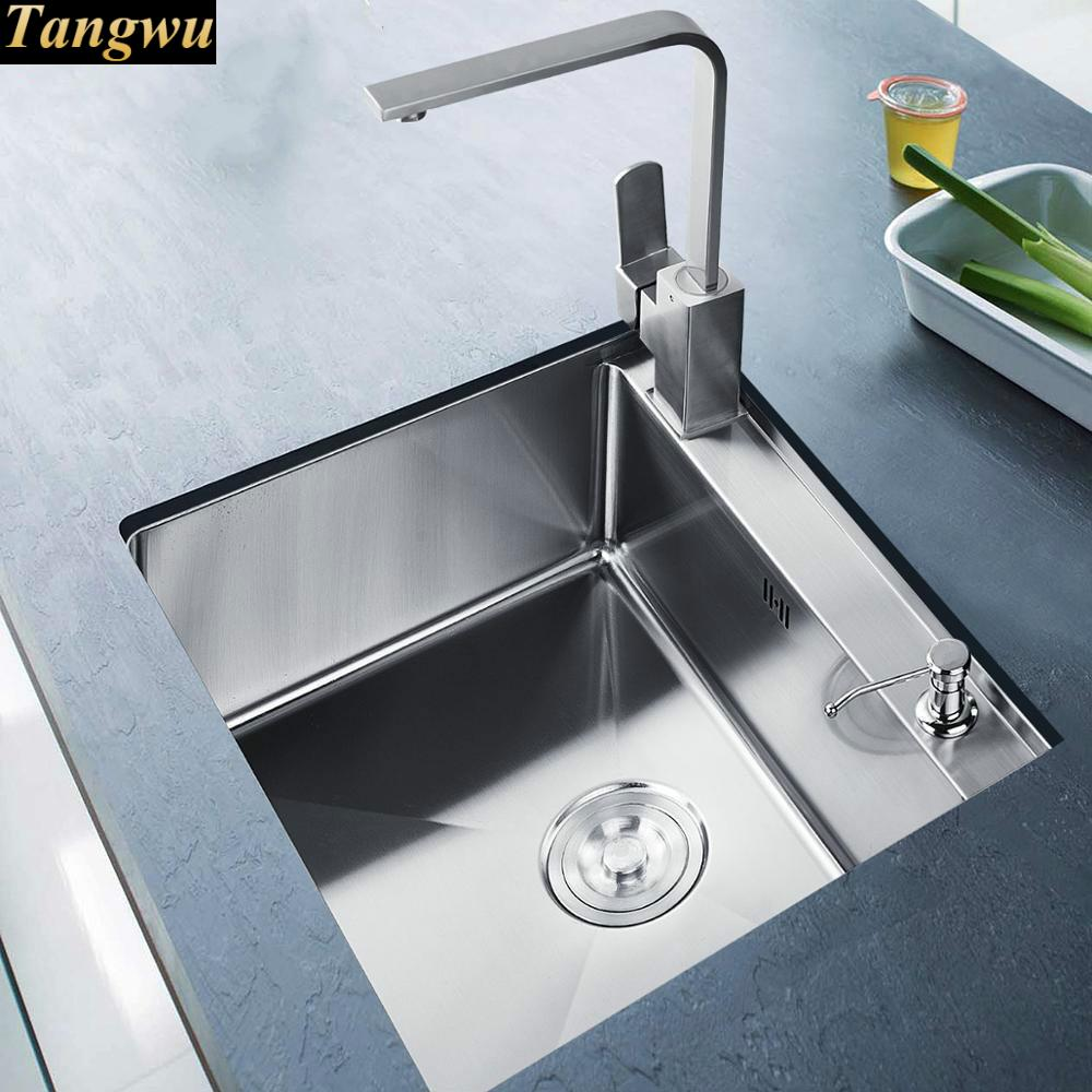 Gambar Meja Dapur Us 302 56 50 Off Tangwu 304 Stainless Steel Manual Single Slot Sayuran Di Meja Dapur Di Bawah Wastafel Baskom 550x450x220 Mm Di Dapur Tenggelam Dari