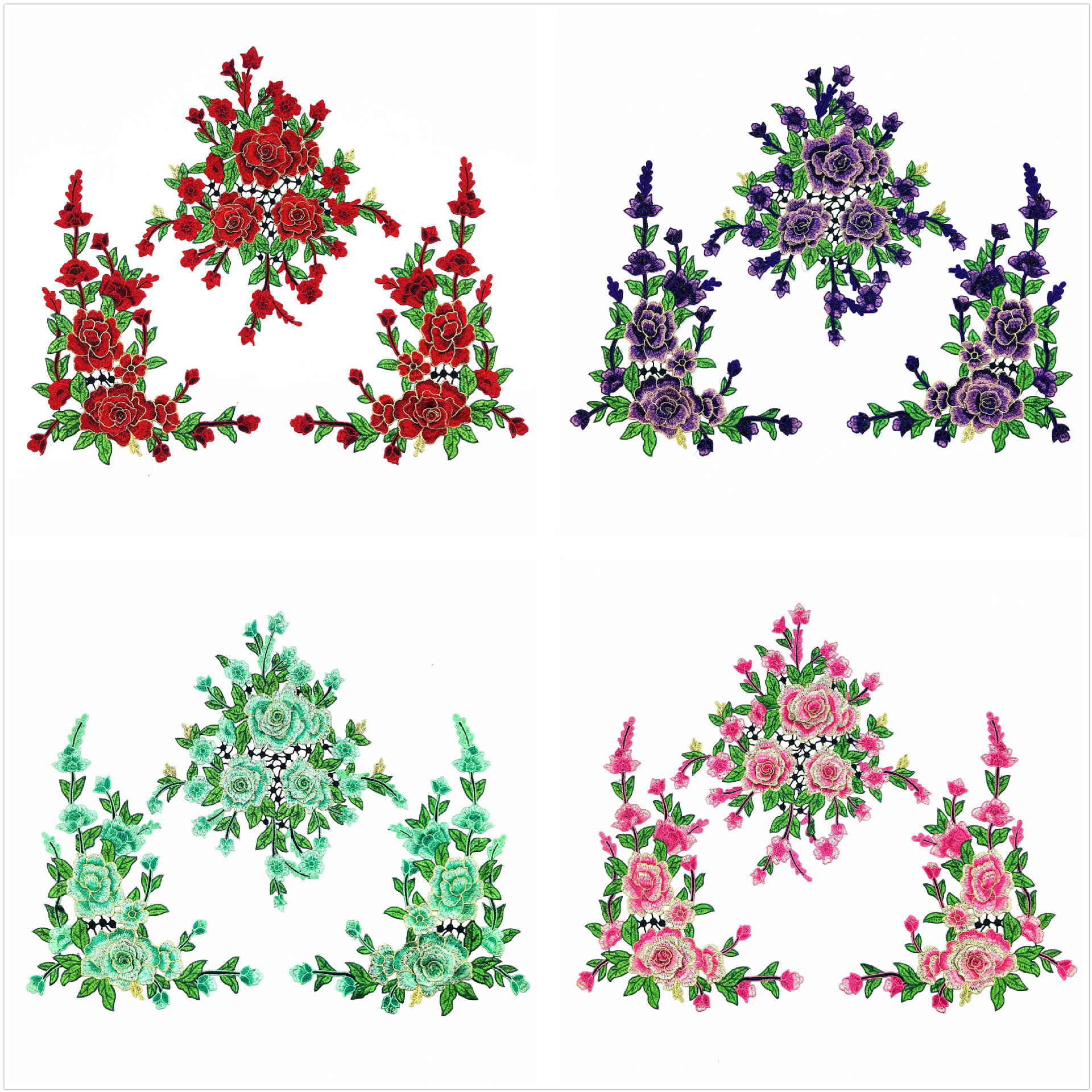 2019 New Fashion DIY Applique Water Soluble Embroidery  Costume Decoration Dimensional Colorful Decals Applique Accessories 3pc