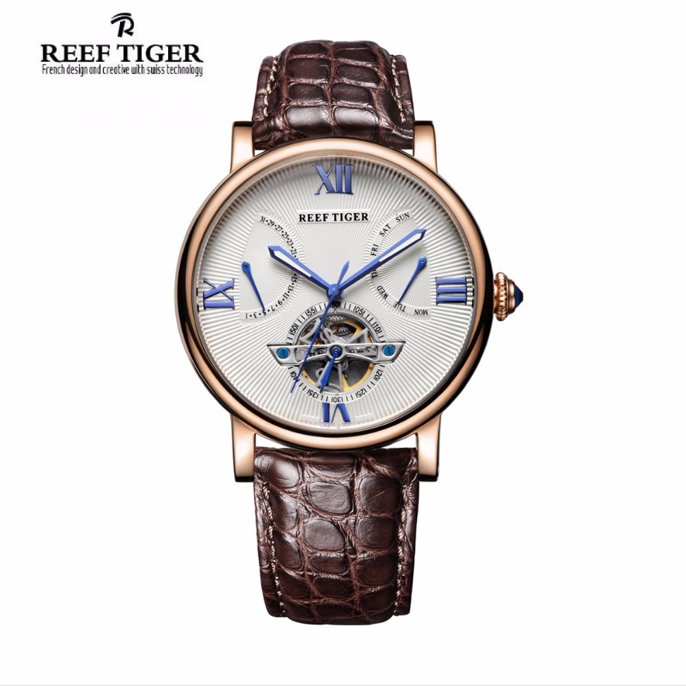 Reef Tiger/RT Casual Designer Watches Tourbillon Automatic Watches with Date Day Rose Gold Alligator Strap Watch for Men RGA191 forsining tourbillon designer month day date display men watch luxury brand automatic men big face watches gold watch men clock