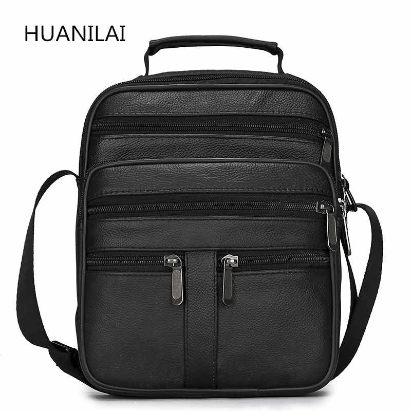 HUANILAI  Men Genuine Leather Bags Messenger Bag Men Shoulder Bag  Crossbody Bags Black Retro Multifunction Handbags TY008